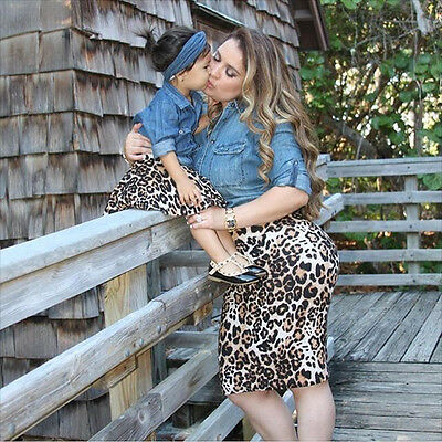 Mother And Daughter Denim Lace Shirt Top Casual Family Matching Clothes Outfits