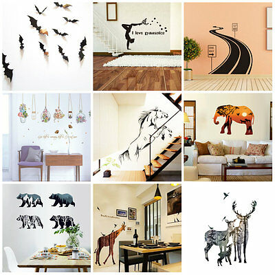 3D Animal Series Removable Vinyl Decal Art Mural DIY Home Decor Wall Stickers