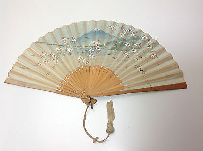 Vintage / Antique Hand Painted Japanese Silk Fan
