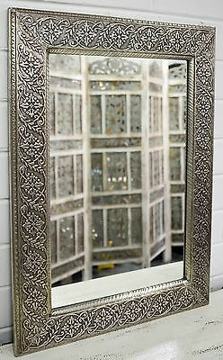 East Connection Statement Mirror Indian Moroccan Vintage Antique White Metal