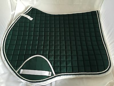 Quality Quilted Dark Green/White Edging Numnah - Cob
