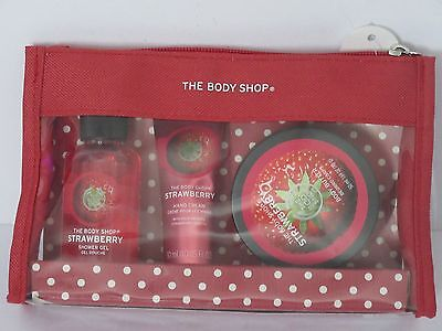 The Body Shop Strawberry Beauty Bag Gift Set Shower Gel/hand Cream & Body Butter
