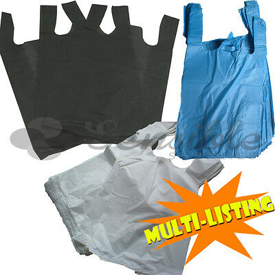 "PLASTIC VEST SHOPPING GROCERY CARRIER BAGS BLUE WHITE & BLACK 11""x17""x21"""