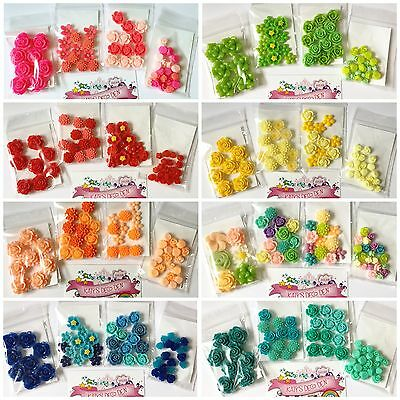 4 packs for £4.99 (52 pcs) Flower Resin Cabochons DIY Decoden Hairbows Crafts
