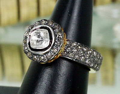 Victorian Style 3.40Ct Rose/ Uncut Diamond Silver Ring ,free Shipping