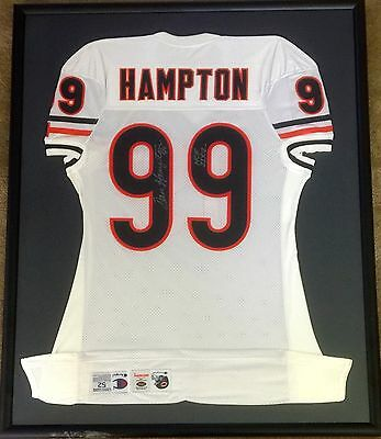 DAN HAMPTON HOF Chicago Bears Game Issued autographed Jersey in Frame RARE
