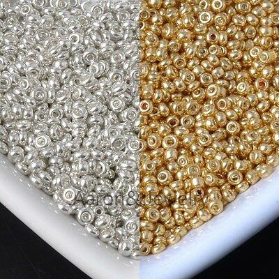 2mm 1500 Pcs  gold and silver Czech Glass Seed Spacer Beads For Jewelry Making B