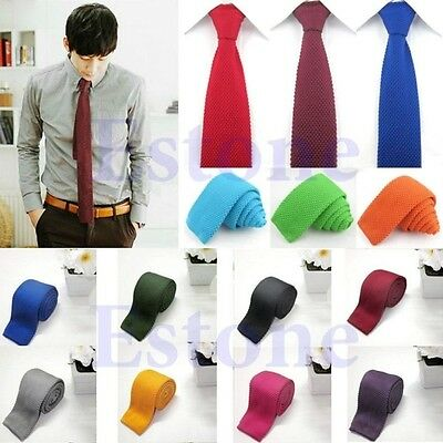Men's Fashion Solid Tie Knit Knitted Tie Pure Color Necktie Narrow Slim Woven