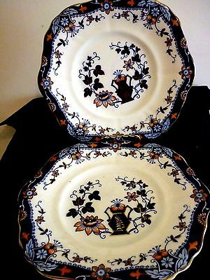 A Pair Of Lovely Antique Gaudy Welsh Cake Plates