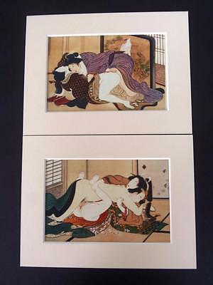 Japanese Reproduction Print Set of 2 SHUNGA #2 Erotic Mounted on Parchment Paper