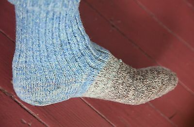 Excellent Condition Vintage Knit 1940's Handmade Wool Socks-Heathered Wool