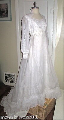 White Ivory Xs Vintage High Neck Long Sleeve Lace Wedding Gown Pearls Long Train