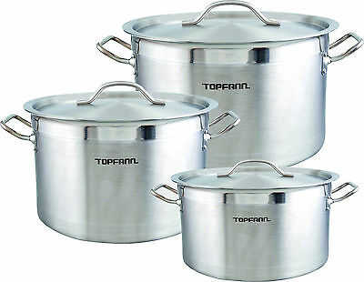 Deep Stainless Steel Stock Soup Pot 14-58L Stew Casserole Brew Cooking Pan Inox