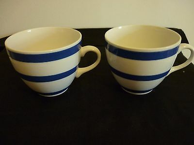 A Pair Of Cornishware Style Tea Cups - Blue And White