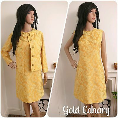 Vintage 60s Yellow Silk Gold Brocade Daisy Shift Dress Jacket Suit Chic 12 40