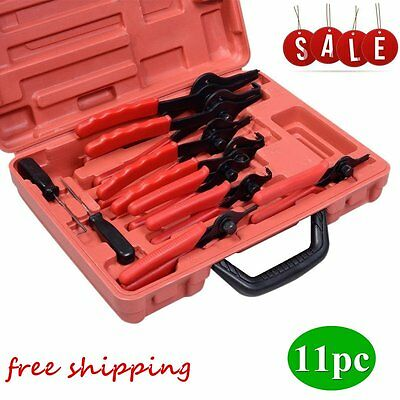 New Snap Ring Plier Set 11pc Mechanic PRO Circlips w/Case Car Truck Motorcycle H