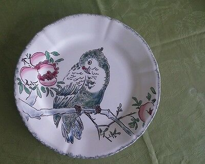 Gien Les Grands Oiseaux Cacatoes (Cockatoo) Dessert Plate #26, Hand painted