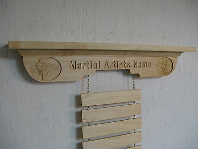 Personalized and Kicker, Martial Arts Trophy Shelf Rank Belt Display, NS Maple