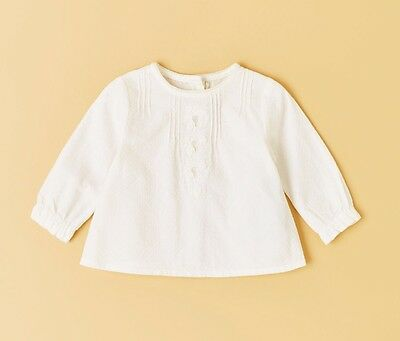 BNWT Zara Mini Baby White Textured Weave Romantic Shirt Sz 1-3 Months