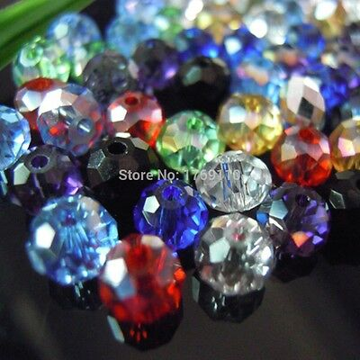 Mixed Colors 4*6mm 50pcs Rondelle  Austria faceted Crystal Glass Beads Loose Spa