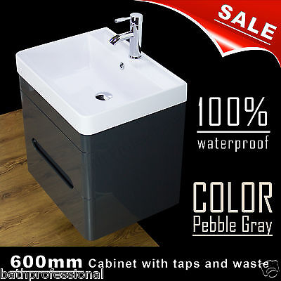 Vanity Unit Cabinet Basin Sink Bathroom Wall Hung Mounted 600MM Tap Waste Colour