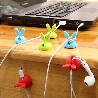 1Lot/4PC Rabbit Cable Drop Clip Desk Tidy Organiser Wire Cord USB Charger Holder