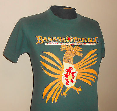 VTG 80s Banana Republic ~ Green Rooster T Shirt- Soft/Thin 100% Cotton - Small