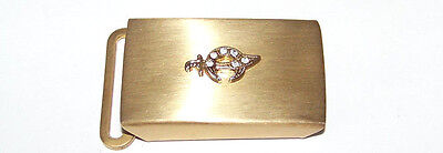 Vintage And Nice-Masonic Shriners Gold Tone With Rhinestones Dress Belt Buckle