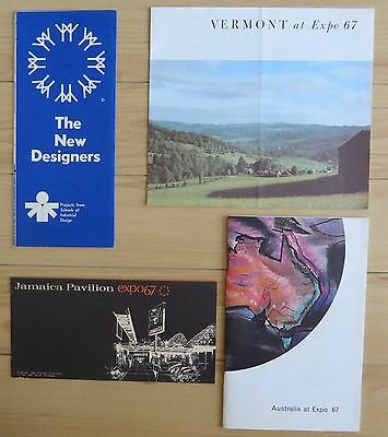 expo67 -4 booklets / brochures from pavilions - Australia / Vermont / Jamaica...