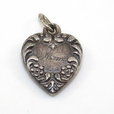 Vintage Estate Sterling Silver Puffy Heart Scroll Engraved Mama Charm ZD