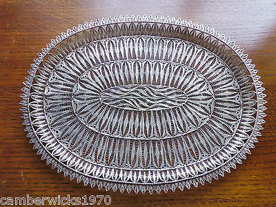 Antique Hand Made Solid Silver Filigree Tray, 413g, Medium