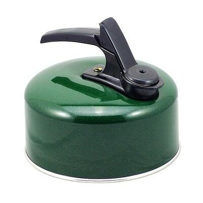 Pendeford Small Light Weight Aluminium Whistling Camping Stove Kettle 1L - Green