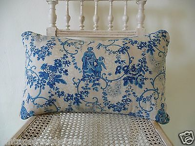 Antique French Fabric Pillow Blue Toile De Jouy Antique French Linen