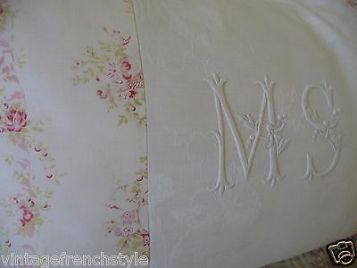 "French Linen Pillow Case Monogram  ""ms"" Decorative Pillow  White Linen"