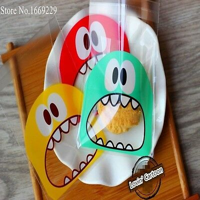 50pcs/lot small size cute little monster Candy cookie Bags Self-adhesive Plastic