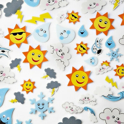 Foam Weather Stickers Pack of 55 fun adhesive craft stickers