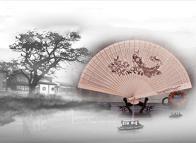 Chinese Style Vintage Wooden Portable Folding Hand Fan Retro Scenery Character