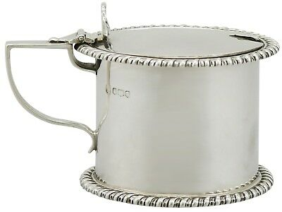 Antique George V Sterling Silver Drum Mustard Pot by Thomas Bradbury & Sons 1918