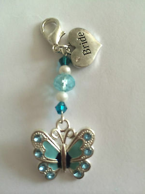 SOMETHING BLUE BUTTERFLY BRIDE's LUCKY CHARM WEDDING for BOUQUET GARTER