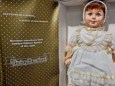 "Horsman 1993 Vintage Reproduction Baby Rosebud BIG 26"" Vinyl Blinky Eyes Doll"