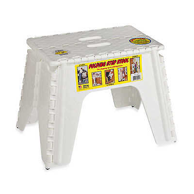 Folding Step Stool Easy Store Stepping Up Down Kitchen Home Garage Sturdy White