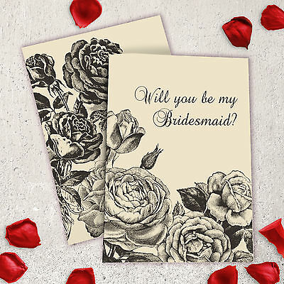 Bridesmaid - Will you By My Bridesmaid? Old Fashioned Roses etched Free P&P