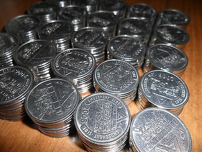 """1,000 Matching Authentic Pachislo Tokens Cleaned / Shiny .984"""" / 25Mm"""