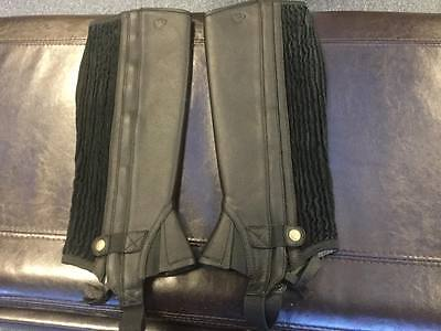 Ariat All Around Iii Black Leather Half Chaps- Size Large