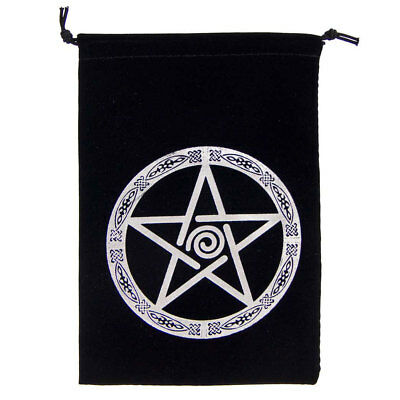 "NEW Embroidered Pentacle Tarot Bag - 5x7"" Wicca Pagan Pentagram Velveteen Pouch"