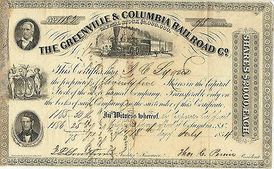 SOUTH CAROLINA 1854 The Greenville & Columbia Railroad Co Stock Certificate