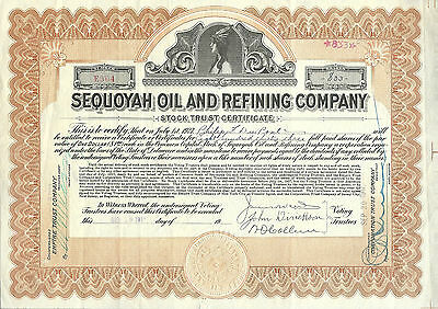 Sequoyah Oil and Refining Co  Stock Certificate 1917 Philip F DuPont Autograph