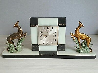 Antique French Art Deco Marble clock  c.1920 Deer hunting garniture