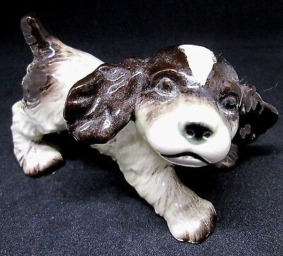 "Goebel Vintage Cocker Spaniel Pup #30105 Glossy 3.5 "" X 2"" Black, Brown & White"