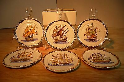 RARE 6 Antique Hand Painted SHIP Butter Pats GOLD Trim White Ceramic With Holder